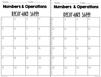 """Numbers & Operations Math Vocabulary """"I Have, Who Has?"""" Review Game"""