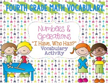 "Numbers & Operations Math Vocabulary ""I Have, Who Has?"" Re"