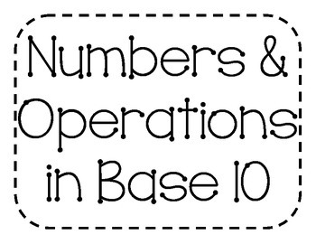 Numbers & Operations in Base 10 Vocabulary Cards with Pictures