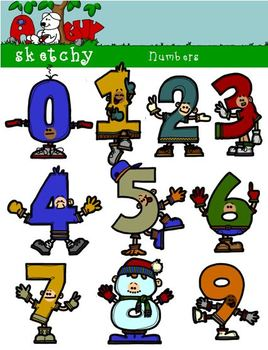 Numbers People Clipart - 300dpi Color, Grayscale, Black Lined
