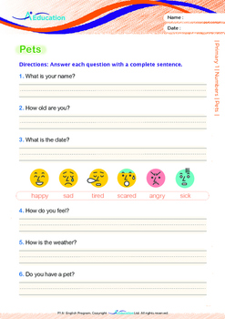 Numbers - Pets (II) - Grade 1 (with 'Triple-Track Writing Lines')