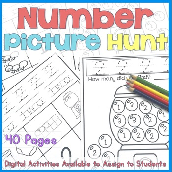 Numbers & Picture Hunt Book (numbers 1 - 20 coloring pages)
