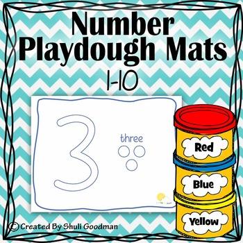 Numbers Play dough Mats - Blue