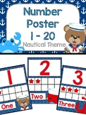 Numbers Poster 1-20 - Nautical Theme