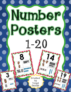 Numbers Posters, 1-20 Using Fingers, Base Tens, Tally Mark