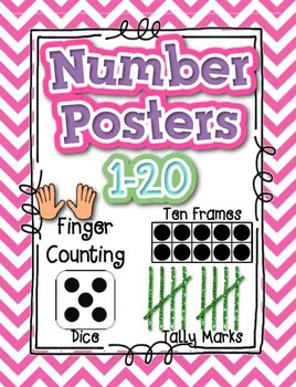 Numbers Posters 1-20 with Dice, Ten Frames, Tally Marks, Finger Counting CHEVRON