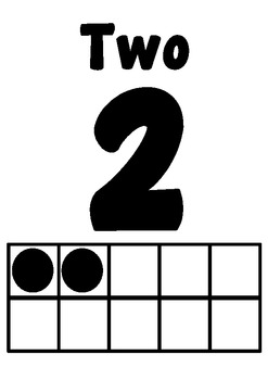 Numbers Posters 0-20 with number and tens frame (black & white)
