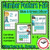 NUMBER POSTERS 0-20 Blue Green Cardinal Ordinal Numbers Classroom Decor