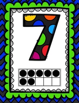 Numbers Posters {Seven Color Combinations} Numbers to 0-20