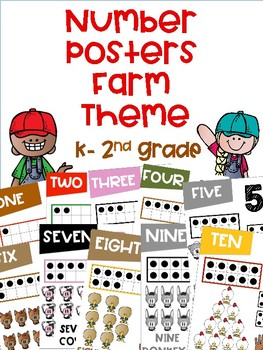 Numbers Posters with a Farm Theme K-2nd Grade