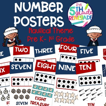Numbers Posters with a Nautical Theme K-2nd Grade