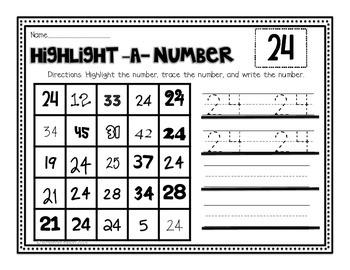 Numbers Practice Part 2 for Kindergarten, First Grade or Preschool