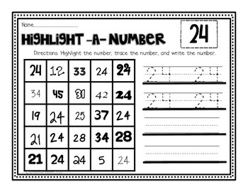 Numbers Practice Part 2 for Kindergarten, First Grade or Preschool