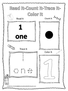 Numbers Read, Count, Trace, Color the number 1.  Preschool numbers worksheet.