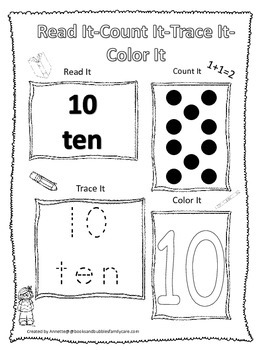 Numbers Read, Count, Trace, Color the number 10.  Preschool numbers worksheet.