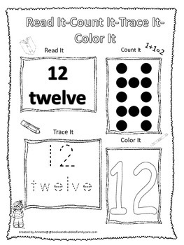 Numbers Read, Count, Trace, Color the number 12.  Preschool numbers worksheet.
