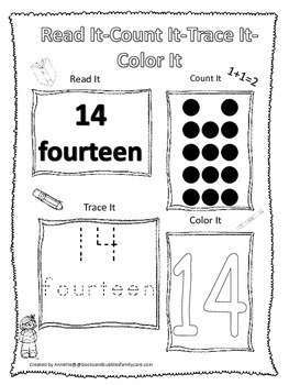 Numbers Read, Count, Trace, Color the number 14.  Preschool numbers worksheet.