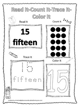 Numbers Read, Count, Trace, Color the number 15.  Preschool numbers worksheet.