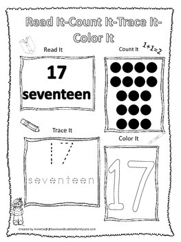 Numbers Read, Count, Trace, Color the number 17.  Preschool numbers worksheet.