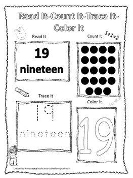 Numbers Read, Count, Trace, Color the number 19.  Preschool numbers worksheet.