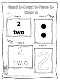 Numbers Read, Count, Trace, Color the number 2.  Preschool numbers worksheets.