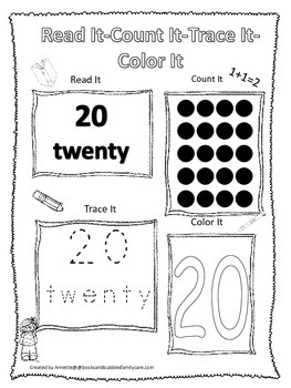 Numbers Read, Count, Trace, Color the number 20.  Preschool numbers worksheet.