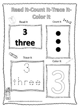 Numbers Read, Count, Trace, Color the number 3.  Preschool numbers worksheet.