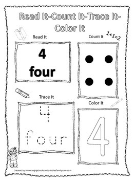 Numbers Read, Count, Trace, Color the number 4.  Preschool numbers worksheet.