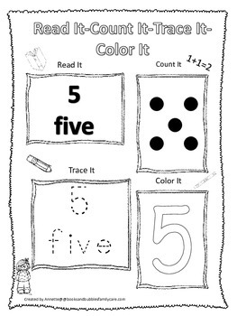 Numbers Read, Count, Trace, Color the number 5.  Preschool numbers worksheet.