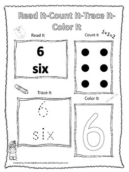 Numbers Read, Count, Trace, Color the number 6.  Preschool numbers worksheet.