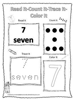 Numbers Read, Count, Trace, Color the number 7.  Preschool numbers worksheet.
