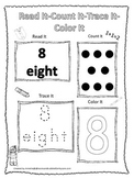 Numbers Read, Count, Trace, Color the number 8.  Preschool numbers worksheets.