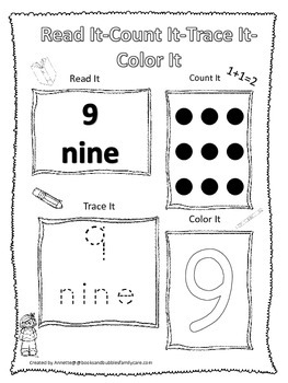 Numbers Read, Count, Trace, Color the number 9.  Preschool numbers worksheets.