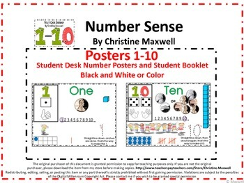 Numbers Sense Posters 1-10, Student Desk Posters and Number Booklet