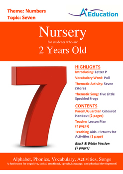 Numbers - Seven : Letter P : Pull - Nursery (2 years old)