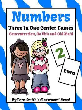 Numbers, Shapes, and Colors Concentration, Go Fish, Old Maid Center Games Bundle