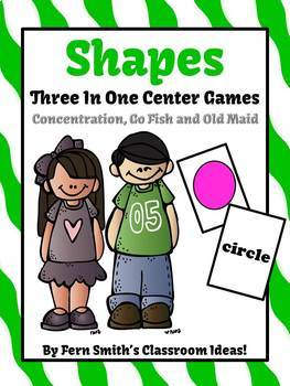 Numbers Shapes and Colors Concentration Go Fish Old Maid Center Games Bundle
