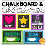 Numbers, Shapes and Colors Poster Bundle in Chalkboard & Chevron Classroom Decor