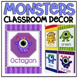 Numbers, Shapes and Colors Posters in Monsters Classroom Decor Theme
