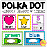Numbers, Shapes and Colors Posters in a Polka Dot Classroom Decor Theme