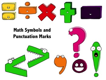 Numbers, Signs, and Punctuation Character Clipart for Commercial or Personal Use