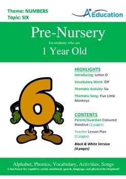 Numbers - Six : Letter O : Off - Pre-Nursery (1 year old)