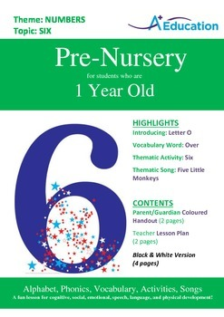 Numbers - Six : Letter O : Over - Pre-Nursery (1 year old)
