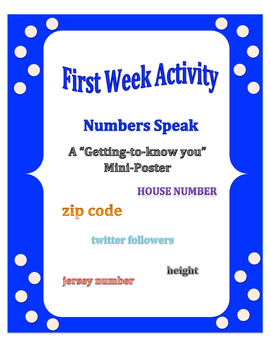 First Week of School: Numbers Speak - A Get to Know You Mini Poster