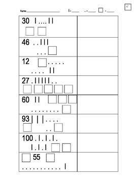 Numbers, Squares, Sticks, and Dots - Base Ten Practice