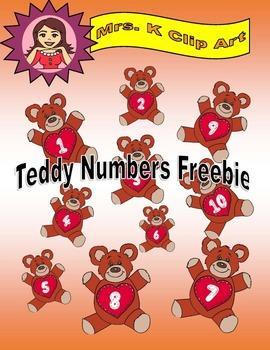 Numbers Teddy clip art freebie