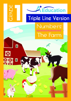 Numbers - The Farm (I) - Grade 1 (with 'Triple-Track Writing Lines')