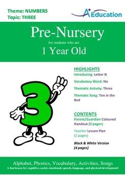 Numbers - Three : Letter N : No - Pre-Nursery (1 year old)