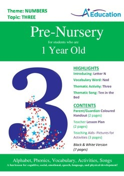 Numbers - Three : Letter N : Nod - Pre-Nursery (1 year old)