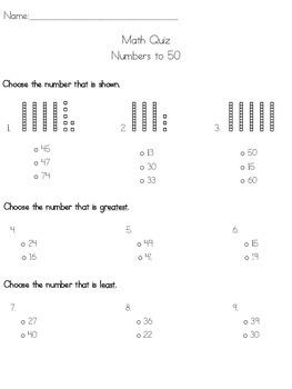 Numbers To 50 Quiz (TEKS Based)